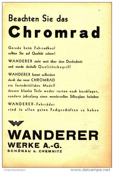Original Werbung Inserat Anzeige 1930 1 1 Seite Chromrad