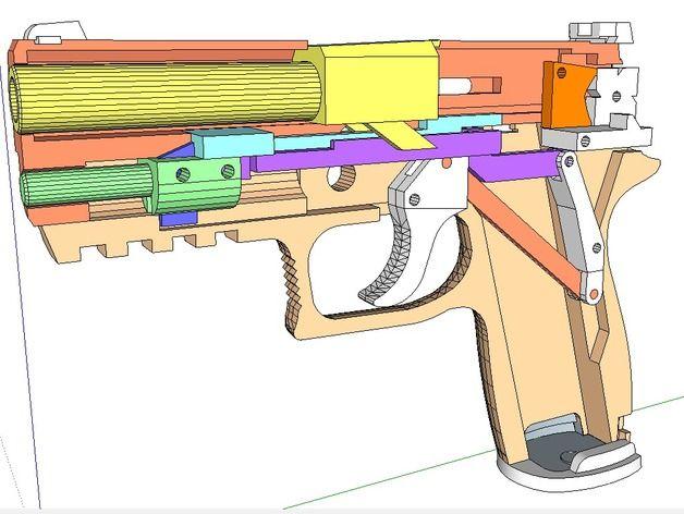 Blowback Rubber band SIG Sauer P320 pistol gun by Simhopp - new blueprint gun art