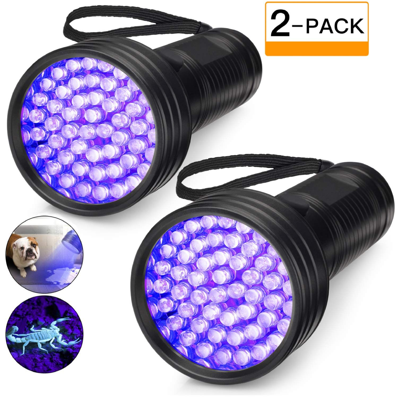 2 Pack Uv Flashlight Black Light 51 Led 395 Nm Ultraviolet Blacklight Perfect Detector For Dog And Cat Urin Pet Odor Eliminator Uv Flashlight Cat Urine Smells