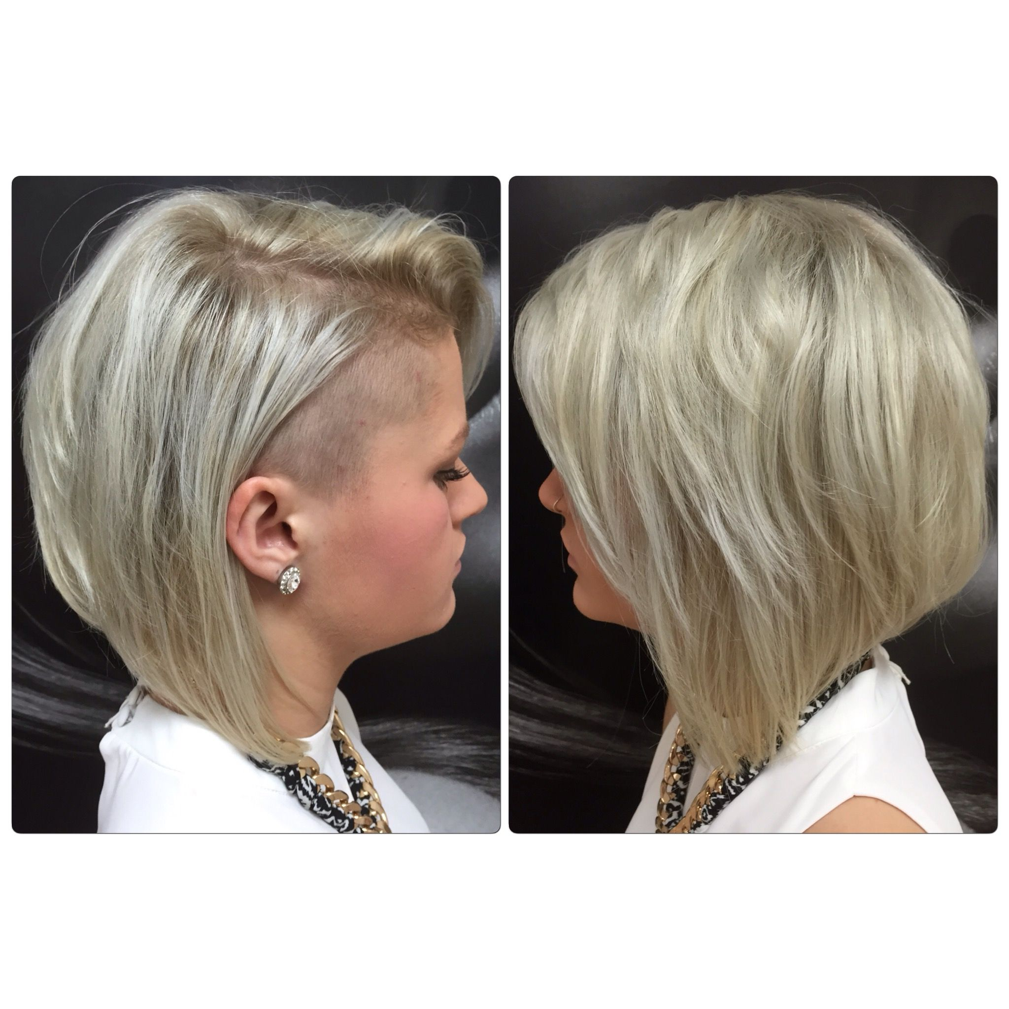 Concave Platinum Bob Shaved Side Hair By Kirsty Hair Cut