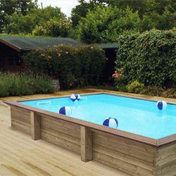 Revestimiento costados en madera para piscinas en altura for Piscina madera pequena