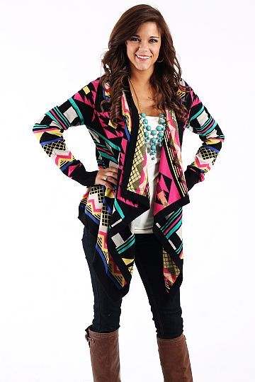 Bright Tribal Cardigan, I've been wanting some aztec print for forever