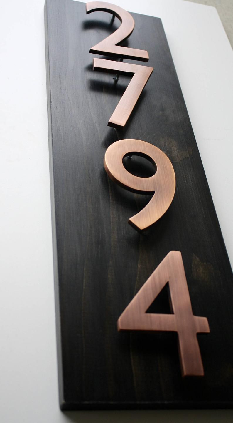 Address Plaque Modern House Numbers House Number Plaque House Number Sign Address Sign House Numbers Copper House Numbers 4 In In 2020 Copper House House Numbers House Number Plaque
