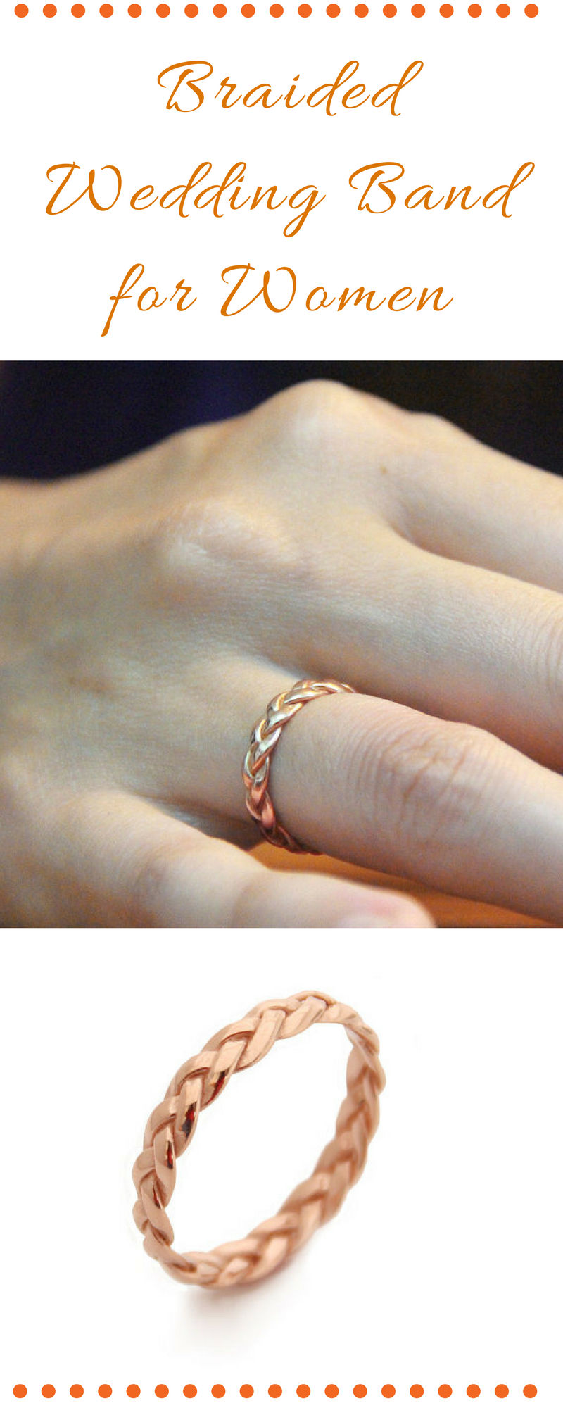 Braided Wedding Band for Women Braided Ring Rose Gold