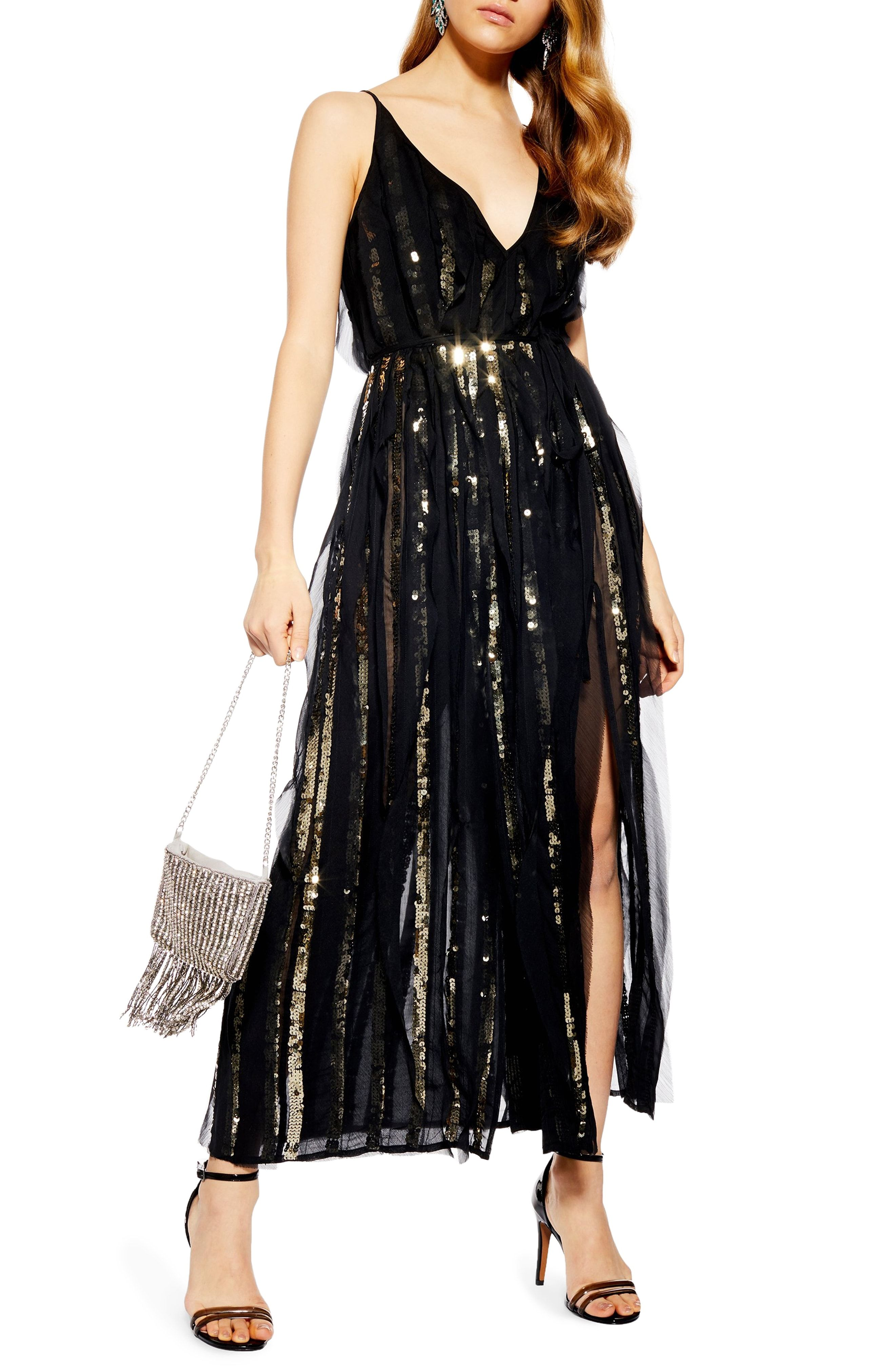 b6bbed2c843f2 Topshop Sequin Stripe Chiffon Maxi Dress available at #Nordstrom ...