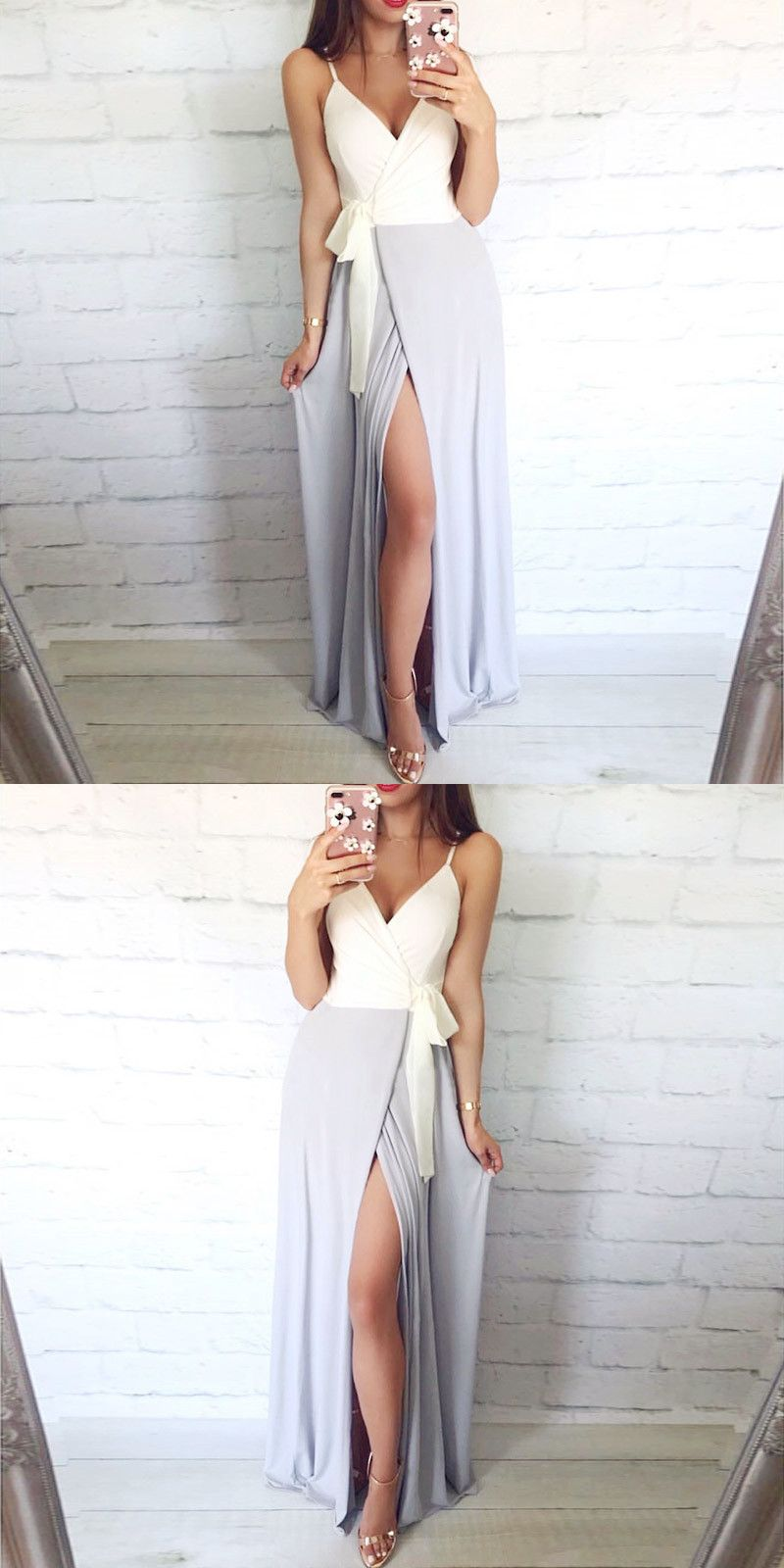 Aline spaghetti straps grey long homecoming dress with sash