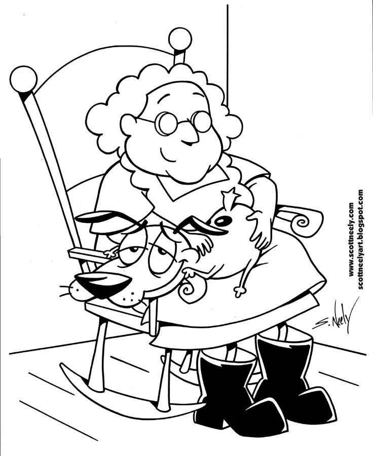 Great Courage The Cowardly Dog Coloring Pages For Kids Cartoon
