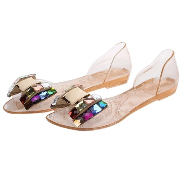 72b7e31b486 Women Sandals Summer Style Bling Bowtie Fashion Peep Toe Jelly Shoes Sandal  Flat Shoes Woman 2