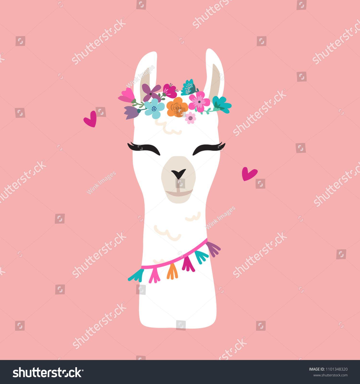 Cute Cartoon Llama Alpaca Vector Graphic Design Hand Drawn Llama