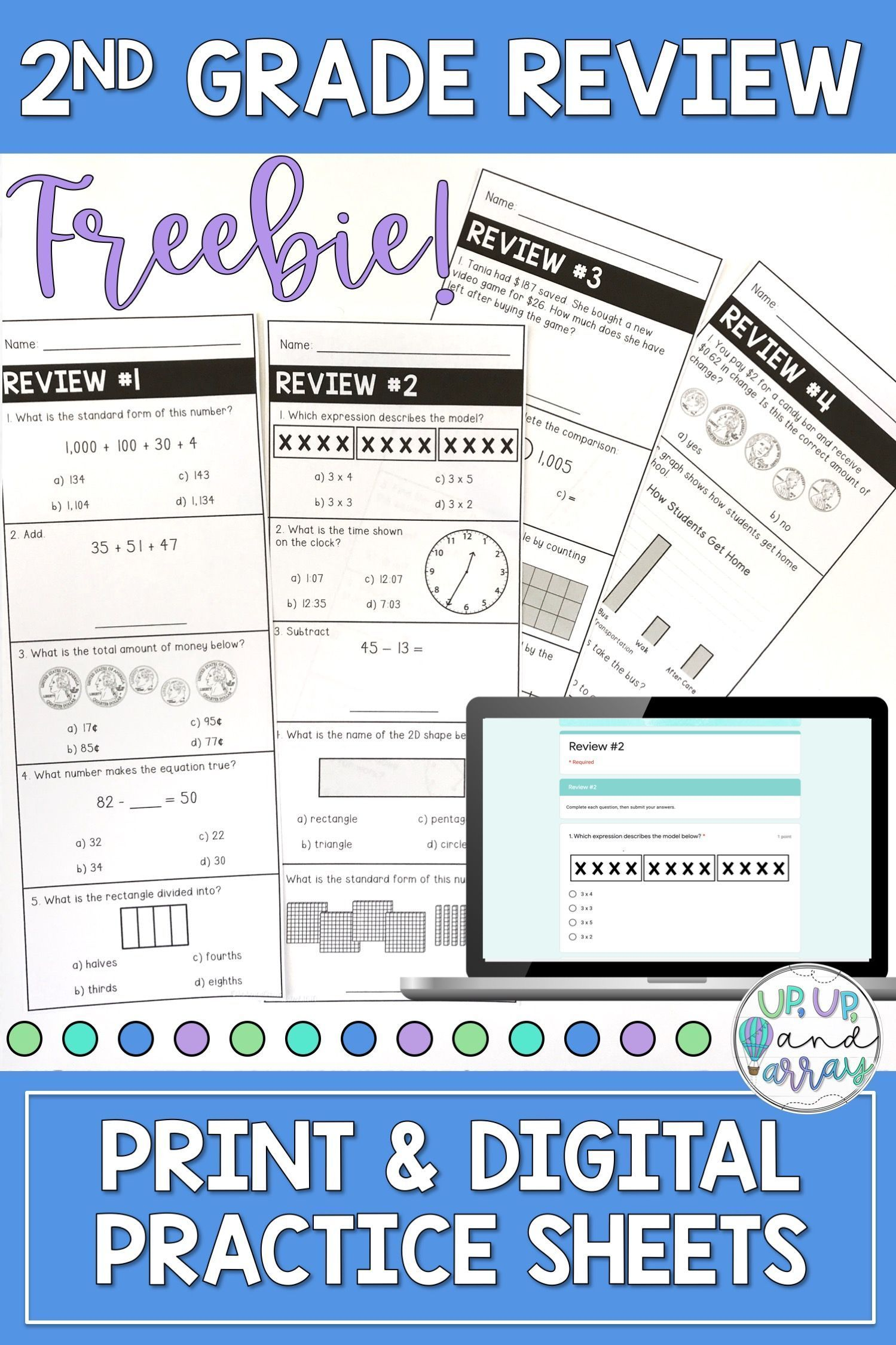 2nd Grade Math Review Skill Sheets Warm Ups Worksheets