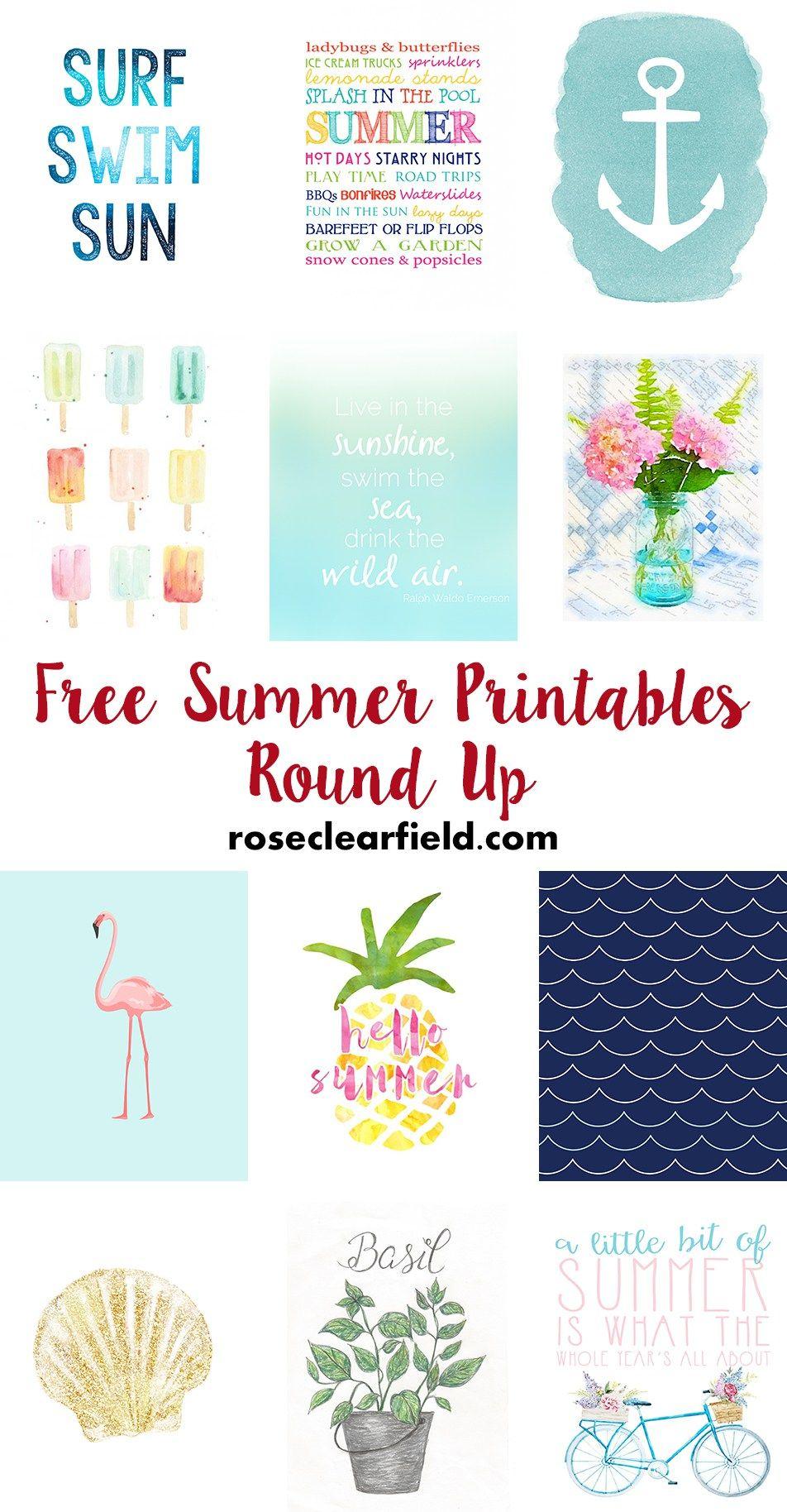 Free Summer Printables Round Up Free Summer Summer Diy Happy