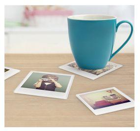 instant photo coaster set personalized custom polaroid retro bar home great unique gift for mom girlfriend wife scrapbooker
