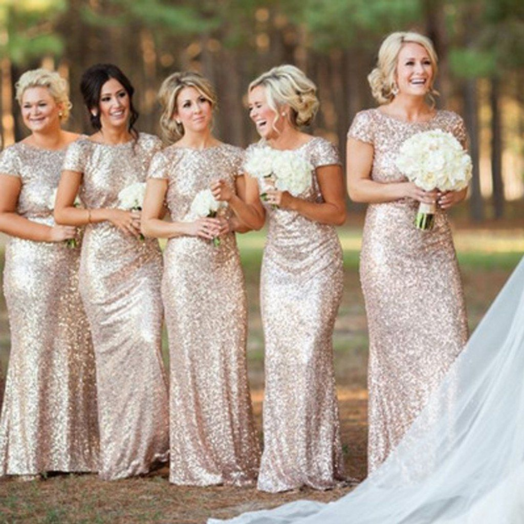 Gold sequin short sleeve mermaid long bridesmaid dresses bd