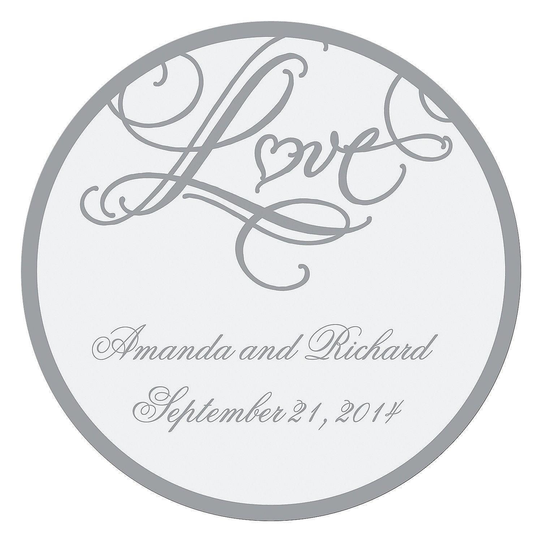 "Personalized ""Love"" Wedding Favor Stickers - OrientalTrading.com ..."
