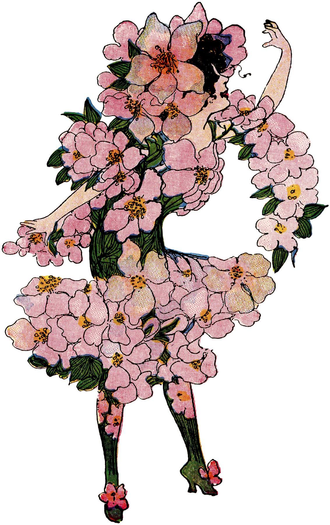 21 Flower Fairy Clipart! Vintage fairies, Graphics fairy