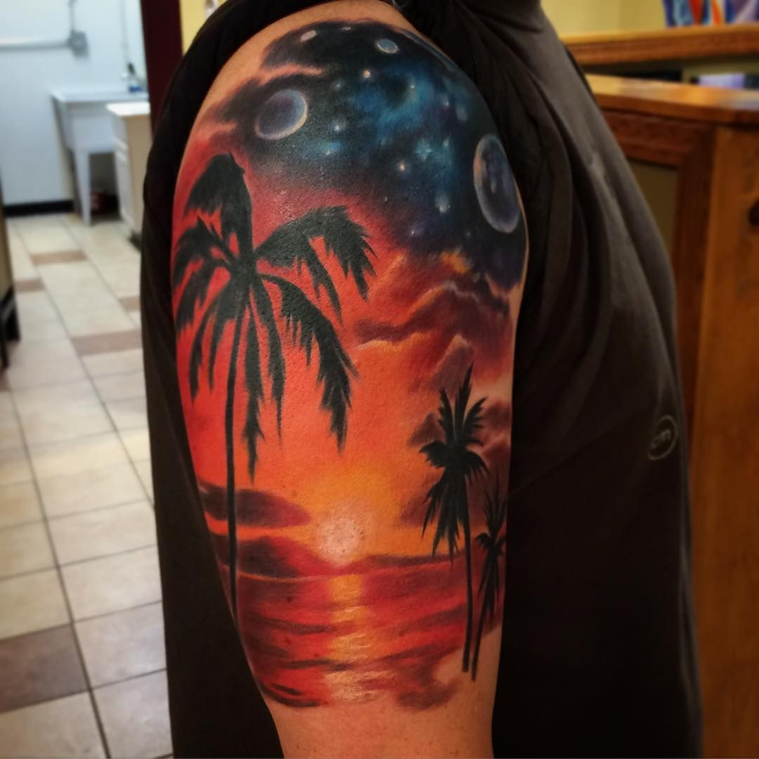 """d387b2fe9 """"Started this new sleeve today. Much more to come, have a good weekend!  #tropical #sunset #tattoo #tattoos #space #stars #beach #palmtrees #ocean…"""""""