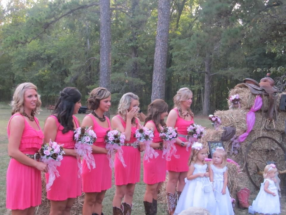 Wedding Stuff Bridesmaids With Boots And Sparkly Western Belts Maybe Do Camo Or