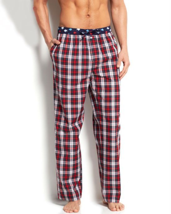 shop for best shopping provide plenty of Tommy Hilfiger Men's Deep Red Plaid Woven Pajama Bottoms ...