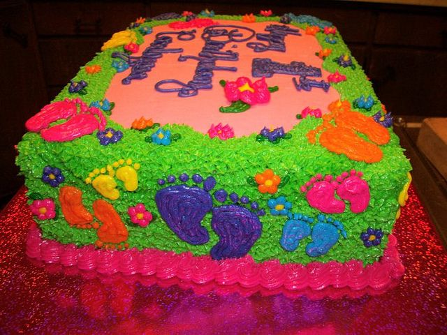 baby girl footprint cakes | Footprint Cake