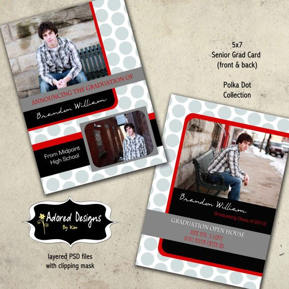 Senior Guy Graduation Card Photoshop Template  Instant Download