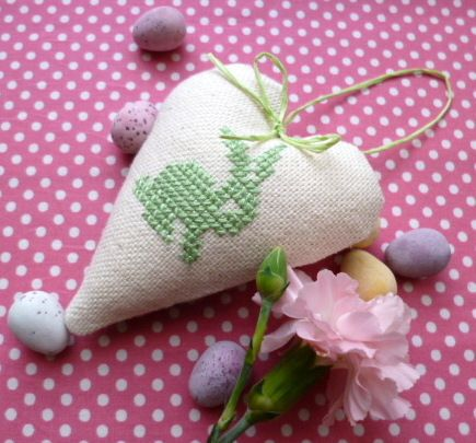 Easter heart decoration- cross stitch Easter bunny