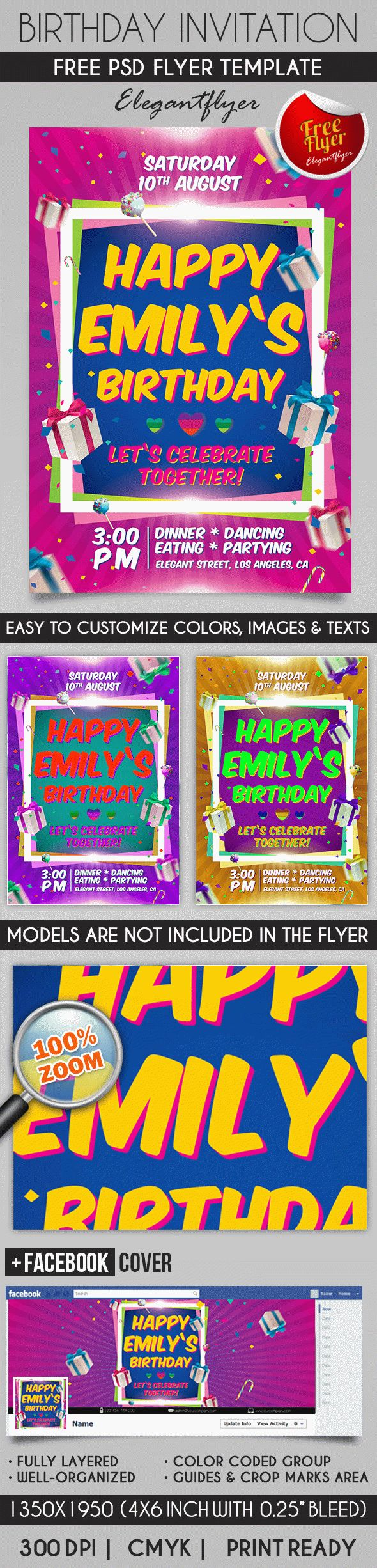 Birthday party invitation flyer psd template pinterest psd birthday party invitation flyer psd template facebook cover stopboris Images