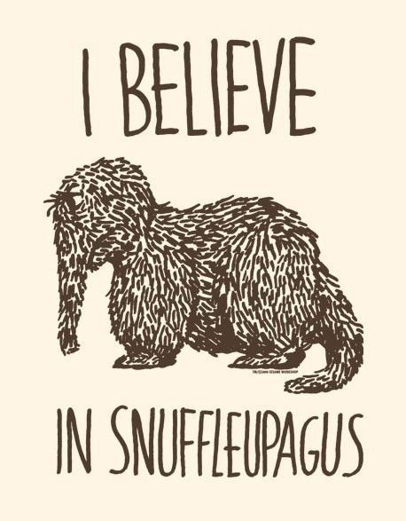 In claiming this belief, am I required to clap for proof? (I'm unsure of the connection between snuffleupagi and fairies.)