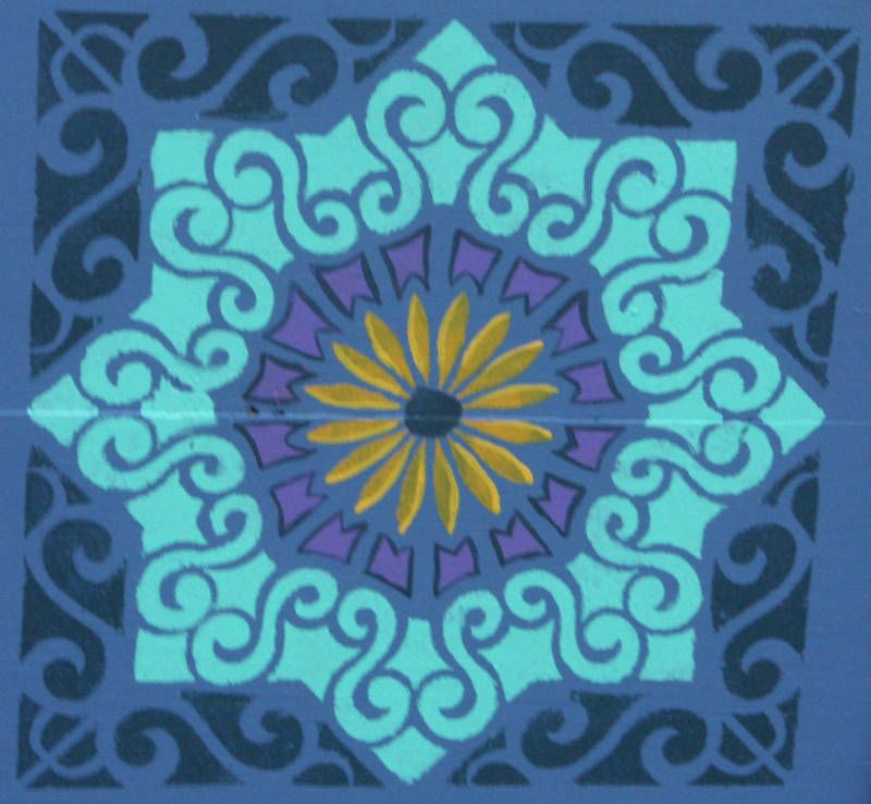 Moroccan Tile Stencil Paint A Large Floor Design 0155A