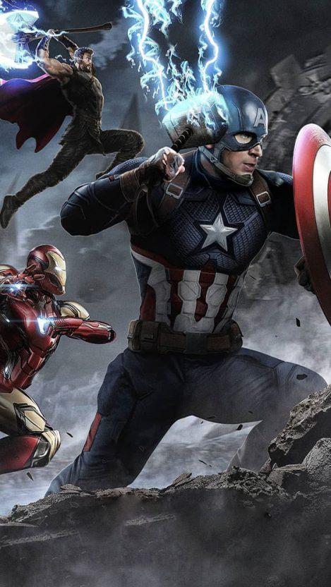 Avengers Battle Captain America Holds Mjolnir Iphone Wallpaper Marvel Superheroes Marvel Cinematic Marvel Comics Wallpaper