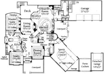 Elevator And Sports Court Home Design Floor Plans Monster House Plans Affordable House Plans