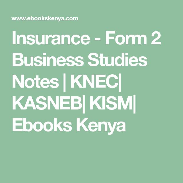 Insurance Form 2 Business Studies Notes Business Studies