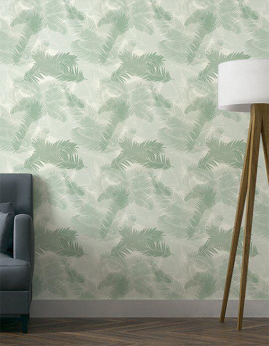 Papier peint TROPIC Vinyle sur Intissé motif tropical, Vert d\'eau ...