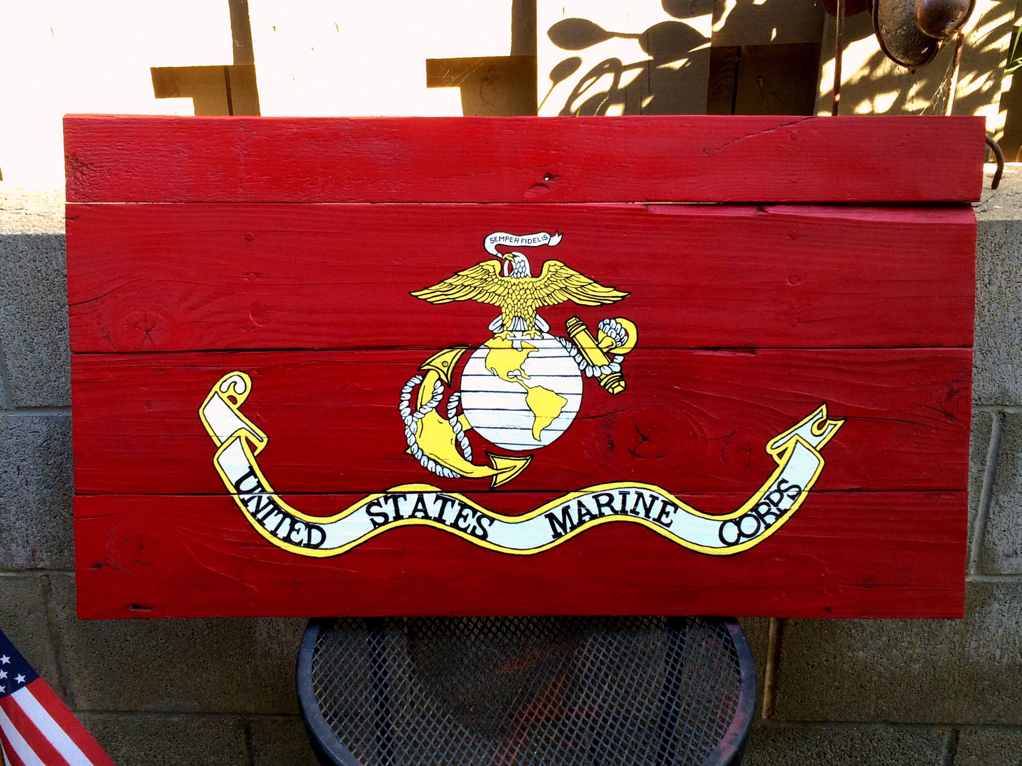 United States Marine Corps Flag hand painted on wood. | Stefanie\'s ...