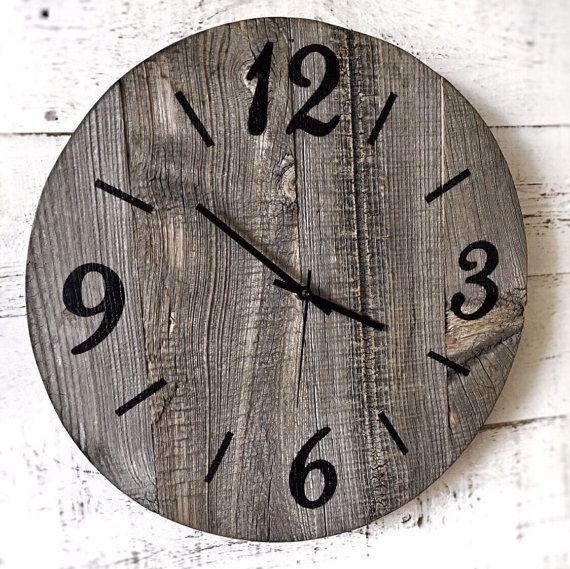 16 pollici rustico fienile legno orologio in legno grande parete orologio recuperato Barn legno orologio oversize orologio da parete