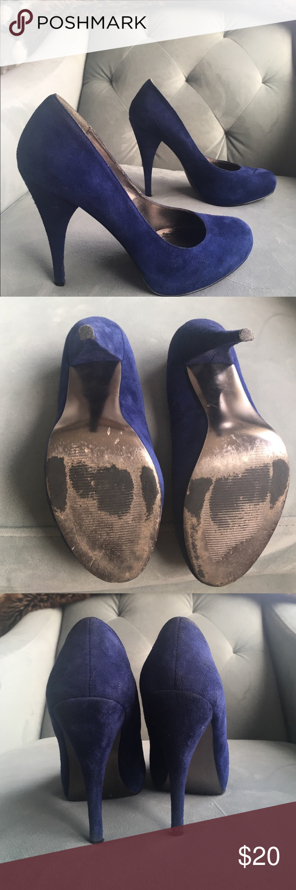 Blue Suede Stilettos Steve Madden Trinitie covered platform Blue suede stilettos. Excellent used condition. Minor scuffing on soles, and minor wear on heel taps - vibrant color!! I'm a true 8, and was able to wear these comfortably, but I wouldn't say they run small. Steve Madden Shoes Heels
