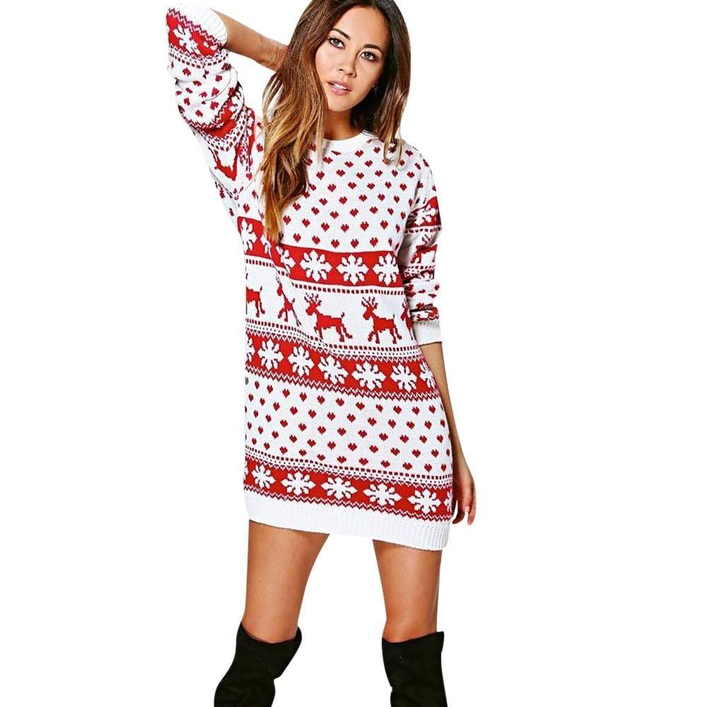 Autumn Winter Christmas Dress New Year Women Casual Xmas Christmas Print Long Sleeve O Neck Ladies Mini Dresses Long Sleeve Mini Dress Party Dress Long Sleeve [ 1000 x 1000 Pixel ]