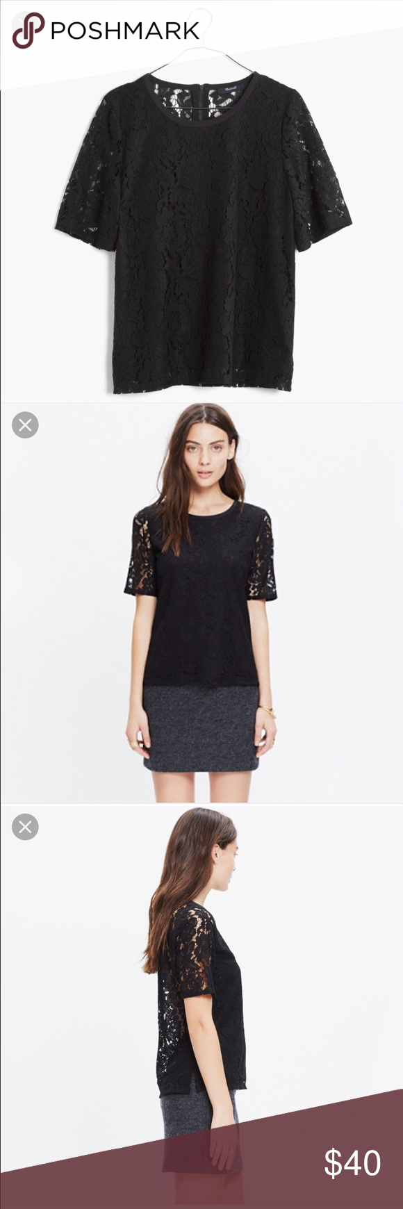 MADEWELL Black Lace Refined Tee Large L Worn once, excellent condition. As pictured, size large! Love to combine shipping and added discounts! Madewell Tops Blouses