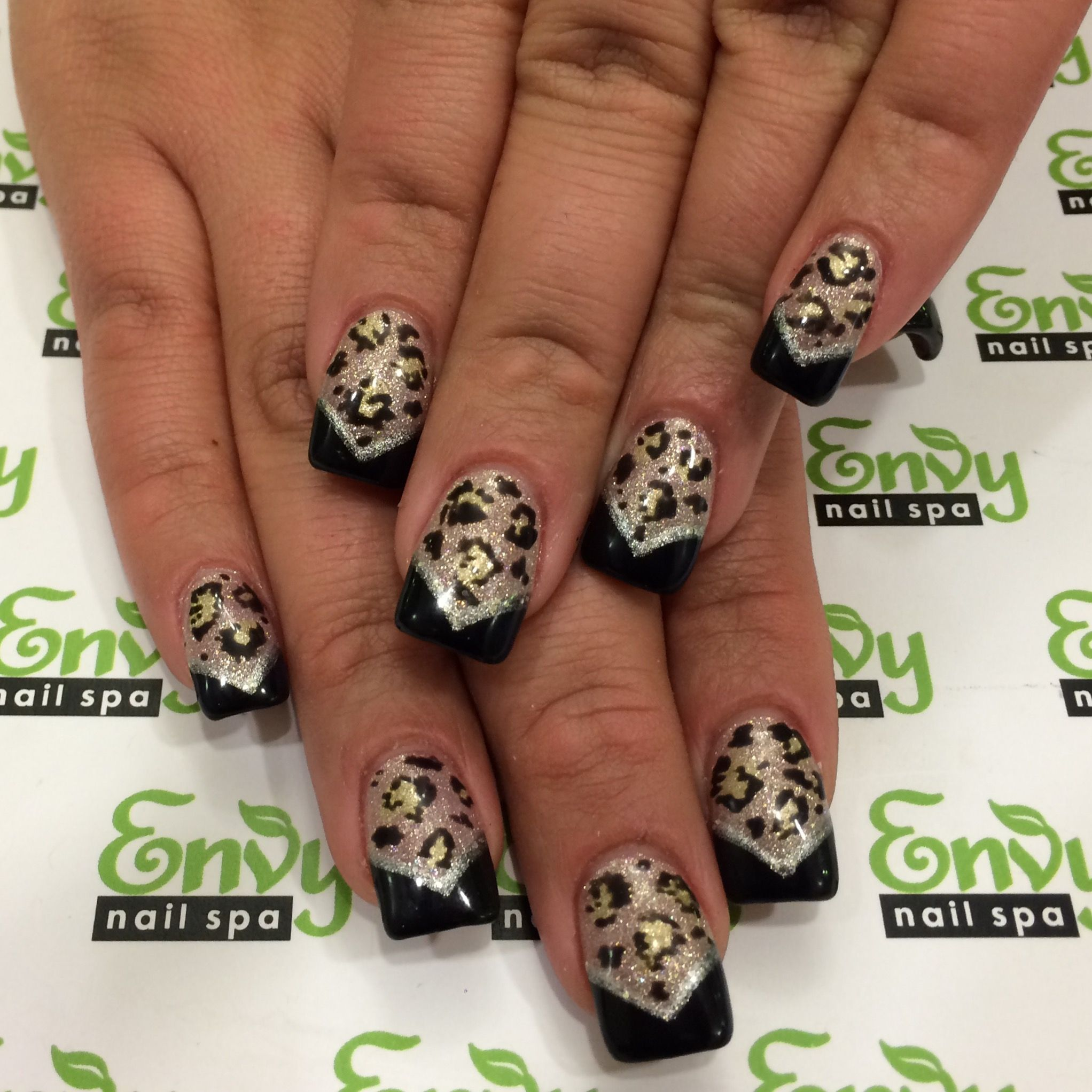 Animal Print Cheetah V French Silver Gold Black Nails Envy