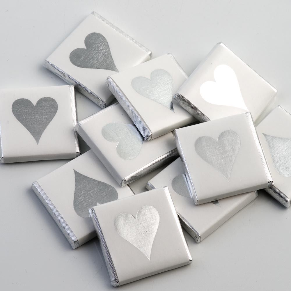 100 Silver Heart Chocolate Neopolitans Wedding Favours | Favors ...