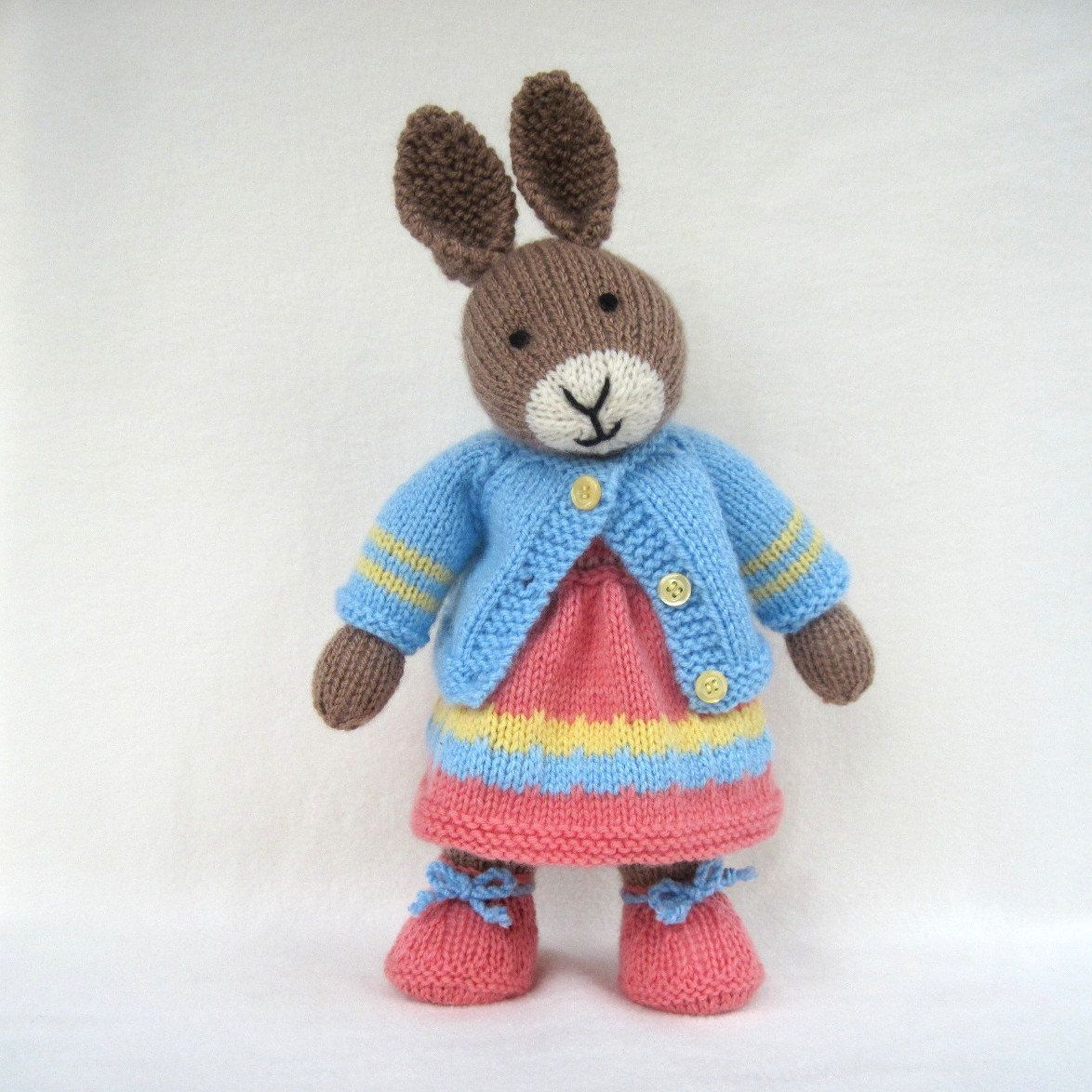Mother Bunny - knitted toy rabbit doll - INSTANT DOWNLOAD - PDF email knittin...