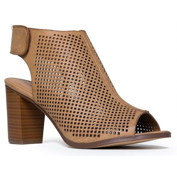 Peep Toe Ankle Strap Sandal Western Bootie Low Stacked