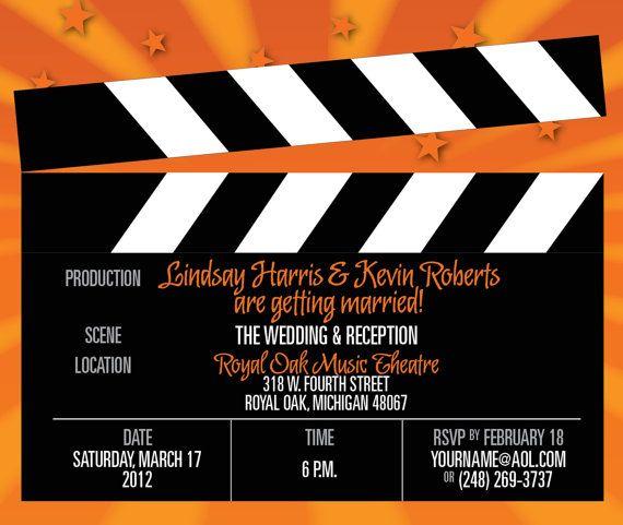 Movie Clapboard Wedding Invitation By Itcoa On Etsy, $2.00