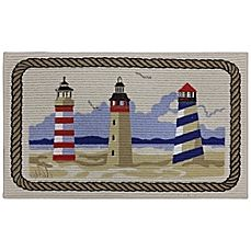 The Nautical Themed Mohawk Lighthouse Berber Printed Kitchen Rug