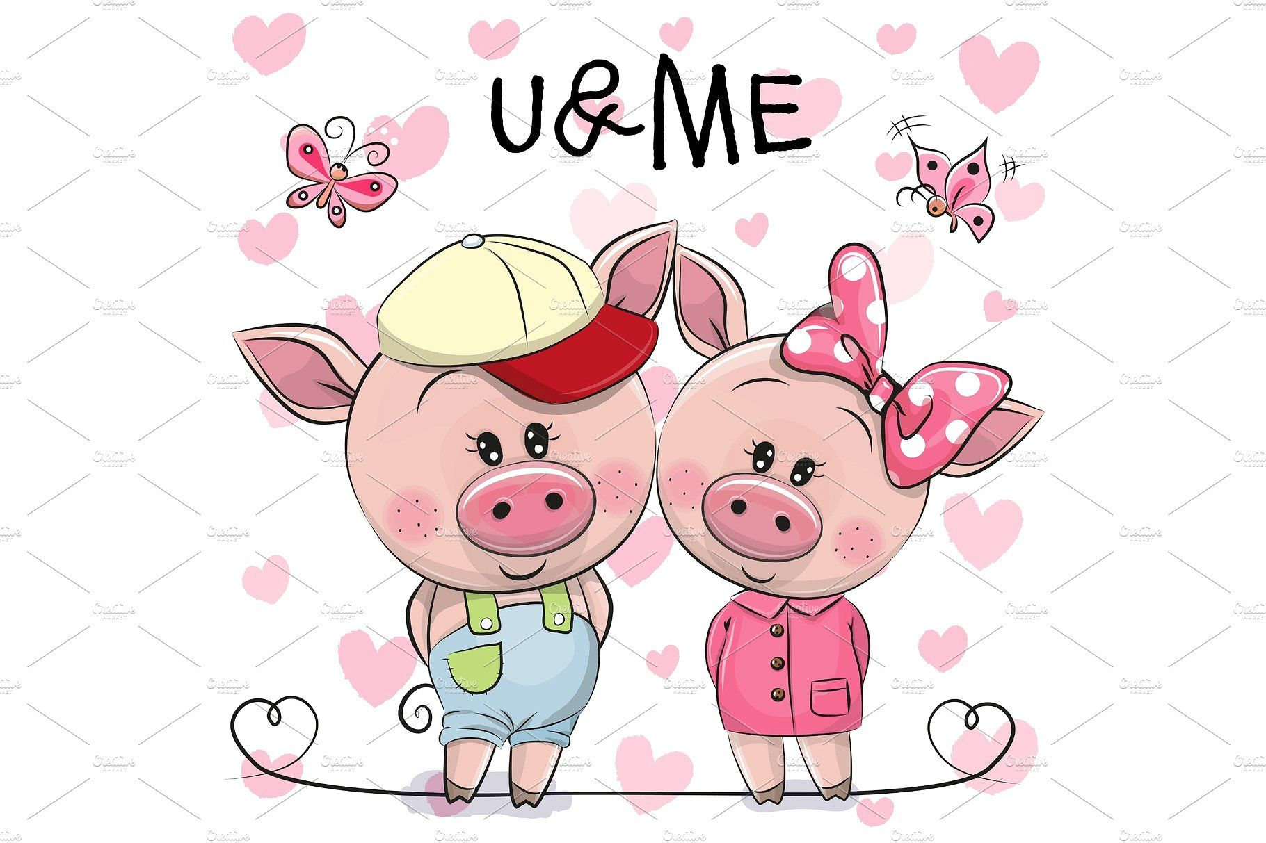 Two Pigs On A Hearts Background Pig Cartoon Heart Background Pig Illustration