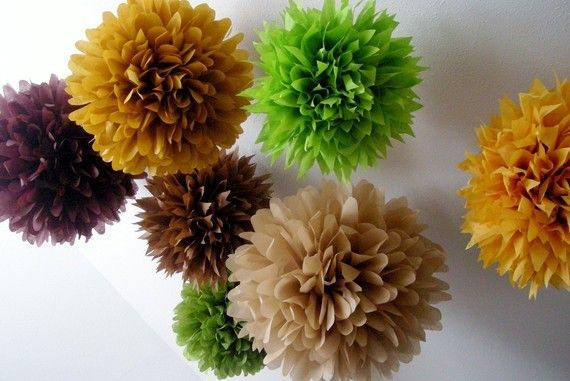 WOODLAND 10 tissue paper pompoms forest nature rustic barn wedding decorations baby bridal shower brown tan brown green boho bohemian theme