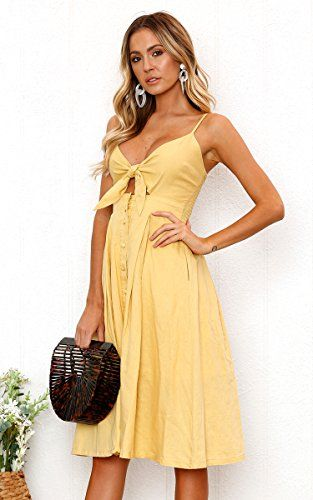 14ba6c209bbb ECOWISH Womens Dresses Summer Tie Front V-Neck Spaghetti Strap Button Down  A-Line Backless Swing Midi Dress Yellow S