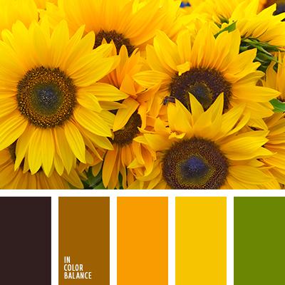 грязно-коричневый, желтый, зеленый, насыщенный оранжевый, оттенки оранжевого, подбор цвета для дома, почти черный цвет, темно-оранжевый, теплые оттенки, теплый желтый, теплый оранжевый, цвет листьев.