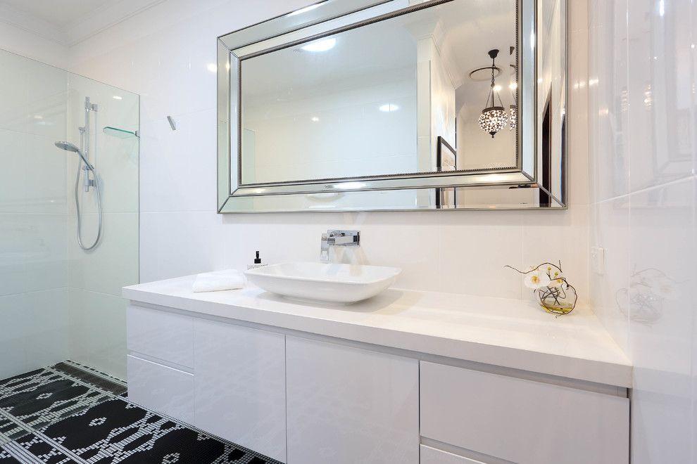 Beautiful Frameless Mirror In Bathroom Modern With Kitchen