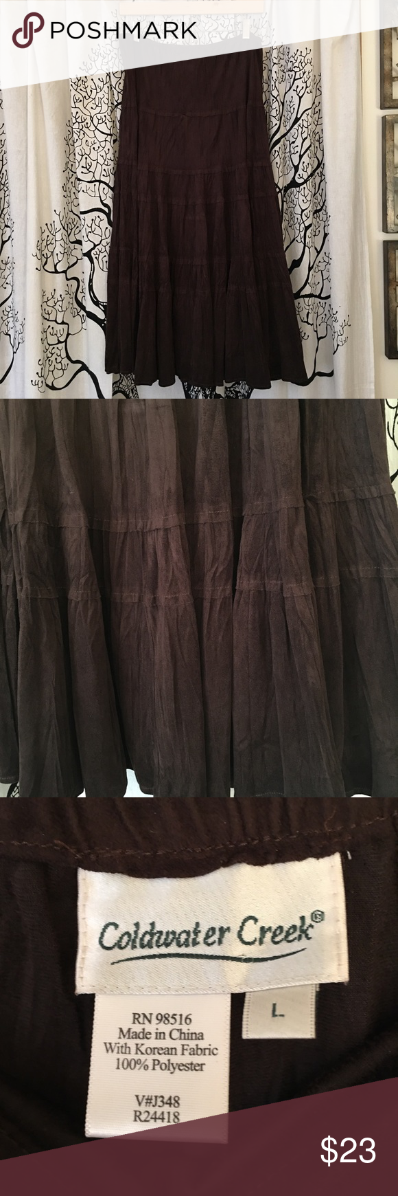 EUC Coldwater Creek Suede Tiered Maxi Skirt SZ L Gorgeous EUC Coldwater Creek tiered maxi skirt in chocolate brown suede. Elastic waistband. Super soft and comfortable! SZ L. Coldwater Creek Skirts Maxi