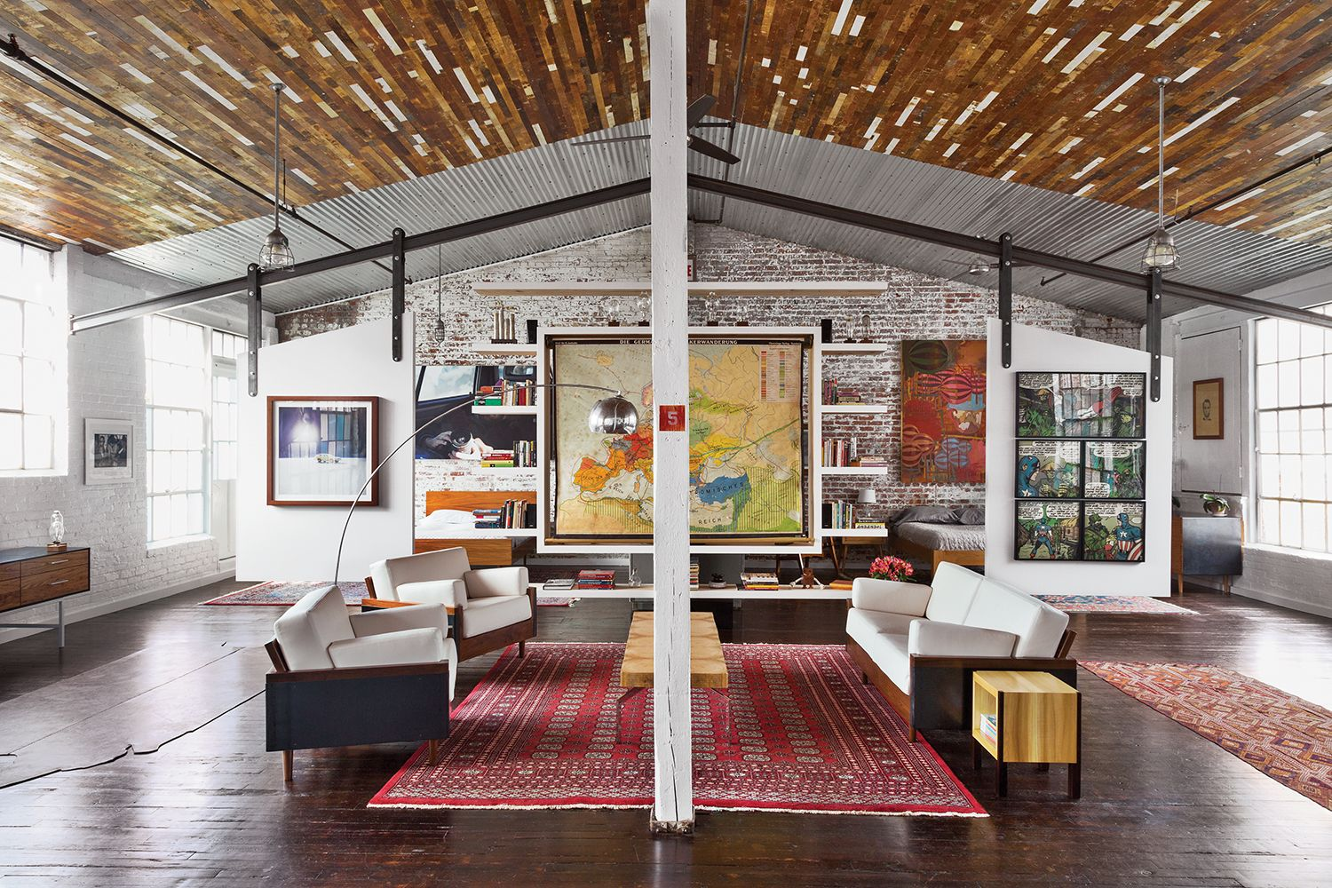 design duo takes over whole factory photo of beneath recycled wood ceiling and centered by bokhara rug the living area contains furniture also petra mullerova mullerovapetra on pinterest rh